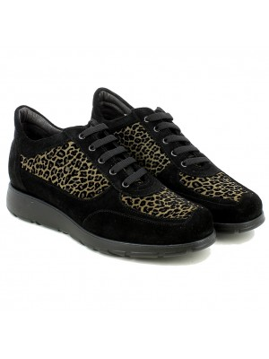 Sneaker in Velour Nero e Leopardato