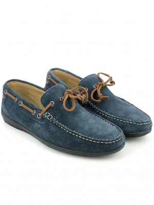 Mocassino in camoscio navy con gala