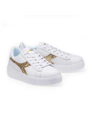 Game Step Ps sneaker bianca con glitter oro