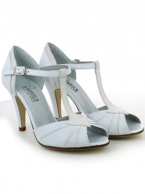 Open-toe da sposa con t-bar in glitter