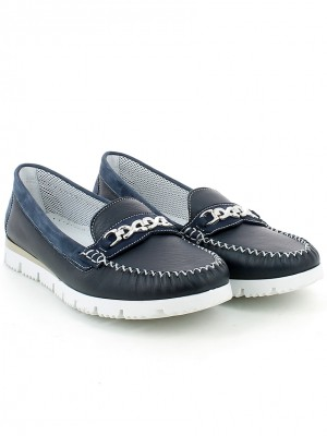 Mocassino in nappa blu con accessorio
