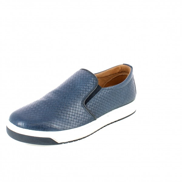 Slip-on in pelle intrecciata blu