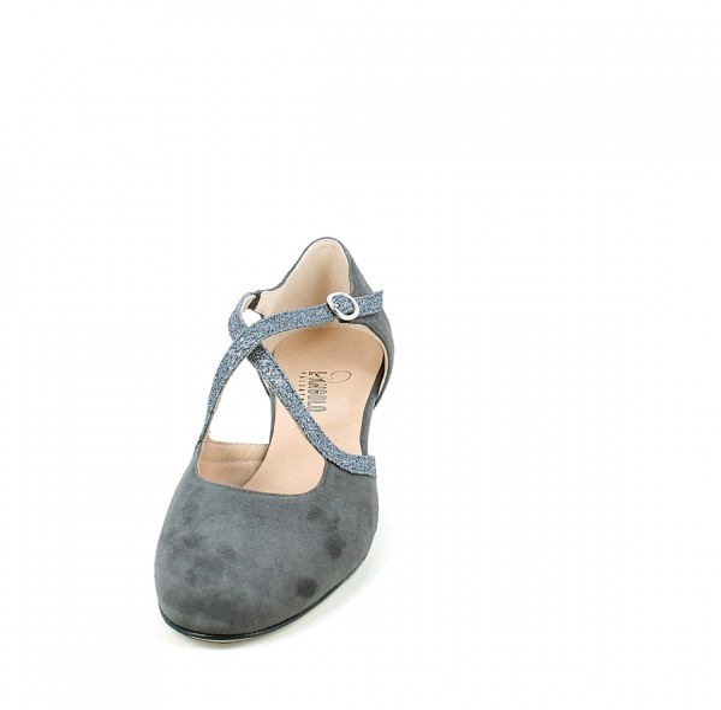 Scarpa da ballo in camoscio grigio e glitter