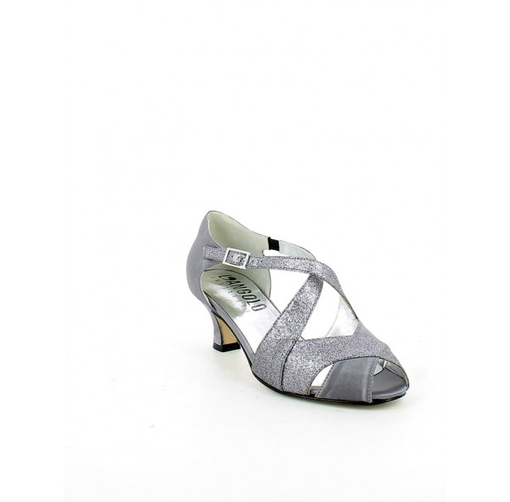 Sandalo da ballo in raso e glitter grigio