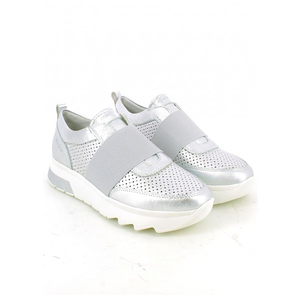 Sneaker laminata argento con elastico