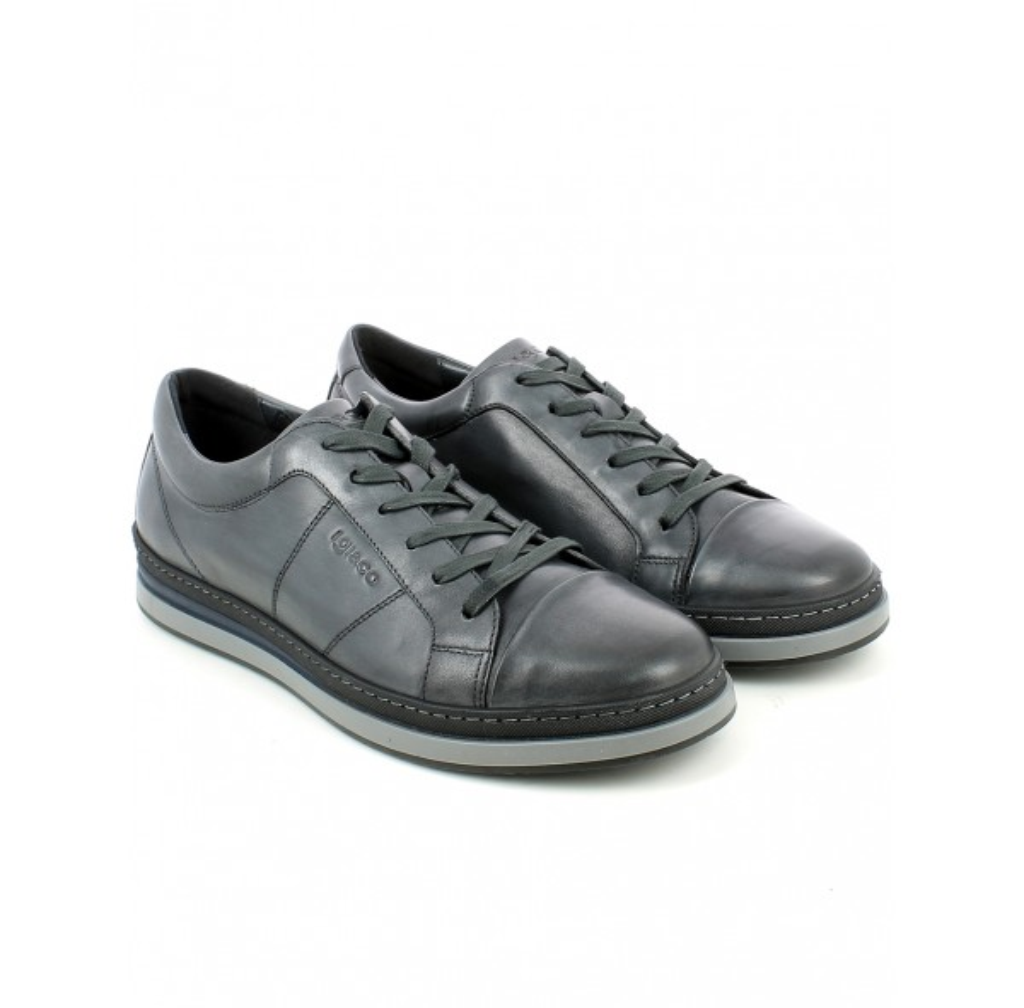 Sneaker Bassa in Pelle Grigio Scuro