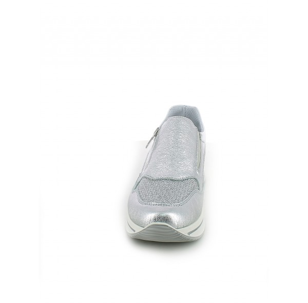 Slip-on laminata argento con memory foam