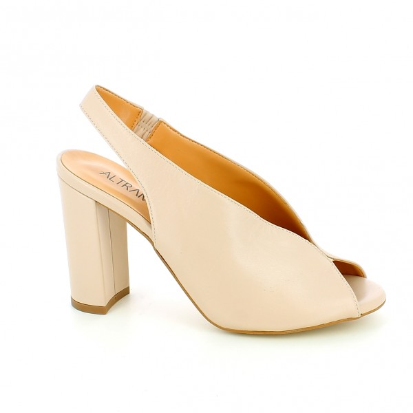 Sandalo cut out nude con tacco alto