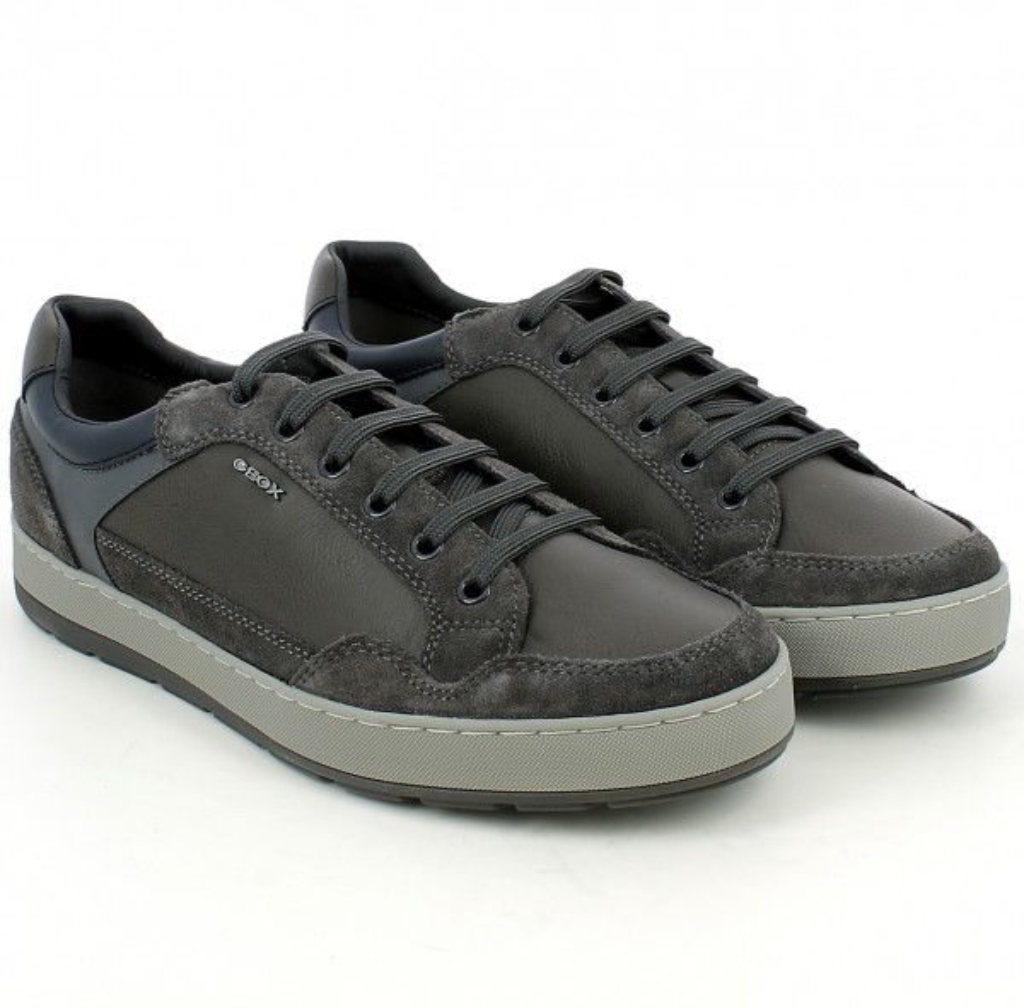 Sneaker Ariam in pelle e camoscio grigio Uomo GEOX | L