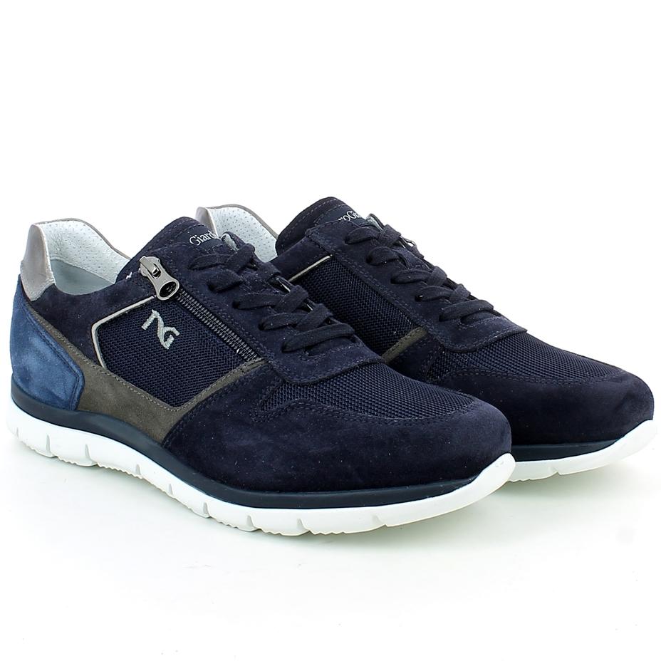 Blu Camoscio Sneaker Zip In Con 0Yfwfq